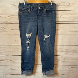 American Eagle Distressed Cropped Stretch Jean.